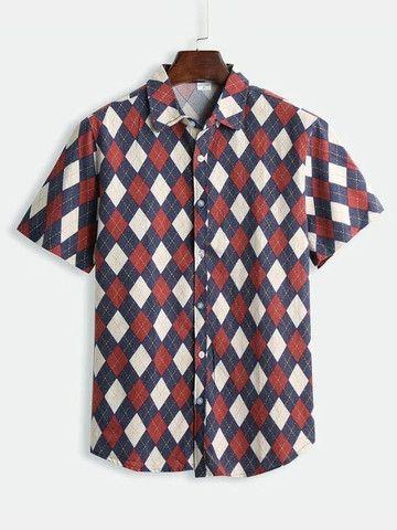 Camisa De Botão Masculina Em Linho Shein - Estampa Retrô - Tamanho G