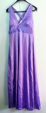 Vestido de Festa Lilás- Longo em Cetim