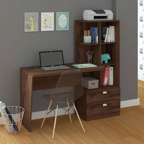 Mesa Elisa para escritório/computador modelo com estantes e gavetas - NOVO - Foto 2