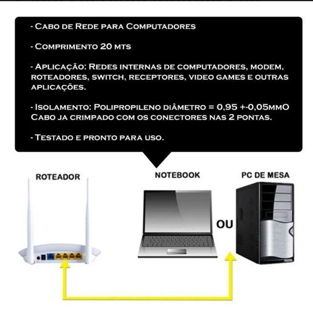 Cabo De Rede Azul Internet 20m Lan Rj45 Mbtech Mb71153 - Foto 3