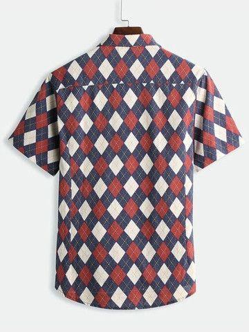 Camisa De Botão Masculina Em Linho Shein - Estampa Retrô - Tamanho G - Foto 2