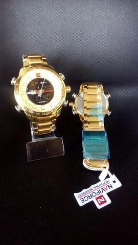 Relógio naviforce luxo inox original novo dourado - Foto 3