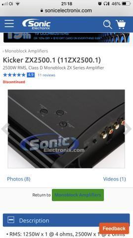 Amplificador/Módulo Kicker ZX 2500 Digital Importado top