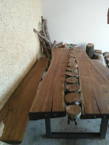 Mesa rústica de pranchao - Foto 3