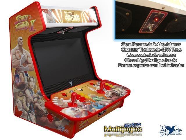 """Arcade Bartop Fliperama Multijogos Retro Tema: Street Fighter ll com 7050 jogos Tela: 22"""" - Foto 2"""