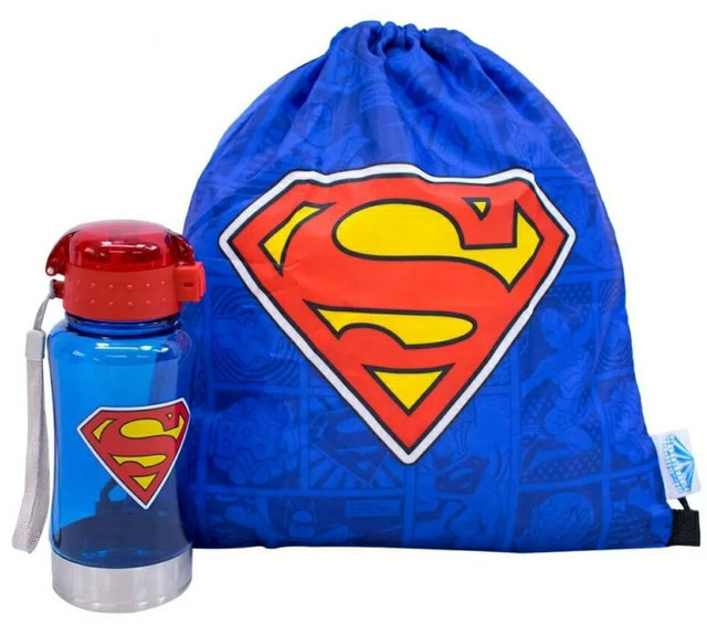 Garrafa 450ml Com Mochila Tipo Saco Superman Liga Da Justiça