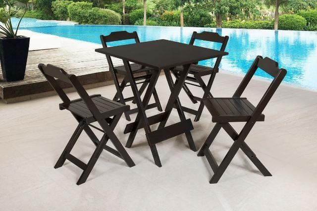 Mesa e cadeira dobrável 68x68 e 1,20x68 e bistrô cor tabaco