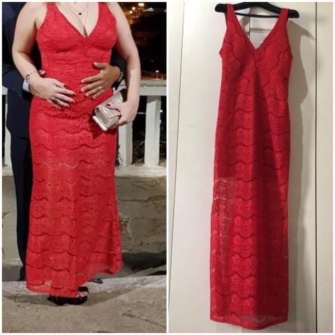 a6db3eee691 Vestido longo de festa vermelho R$150,00
