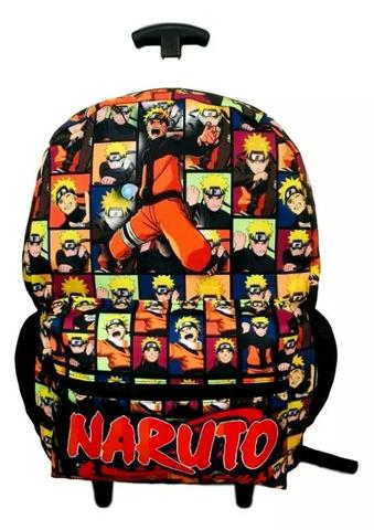 Mochila Naruto Com Rodas + Estojo