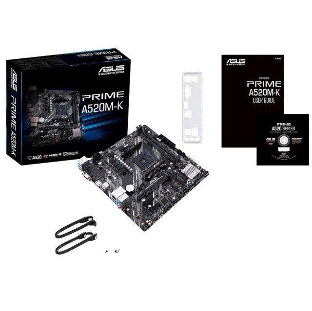 Placa-Mãe Asus Prime A520m-k Amd Am4 matx ddr4 nova lacrada garantia - Foto 2