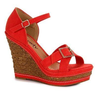 12c1461458c Sandália Anabela Feminina Dariely - Coral 36 - Roupas e calçados ...