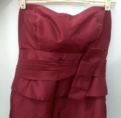 Vestido acetinado Marsala de festa Curto Tam 40 - Foto 2