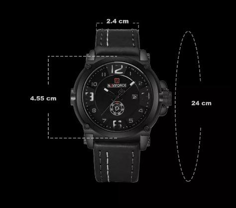 41cbb7354c56f Relógio Masculino Militar Esportivo Naviforce Pulseira Couro ...