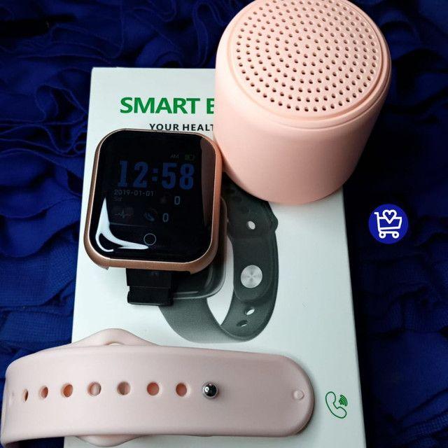 Kit relógio D20+ caixinha de som infones - Foto 2