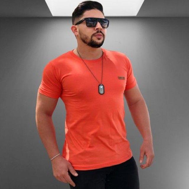 Kit 10 camisas lisas manga básica Algodão - Foto 3