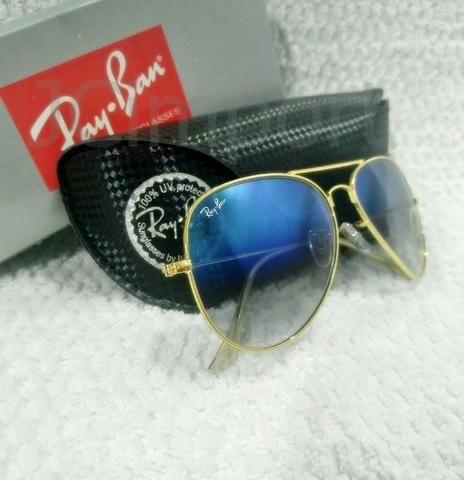 9797c3ebf Óculos de sol RB 3026 Aviador Azul Degrade com lentes vidro e proteção  Ultra Violeta