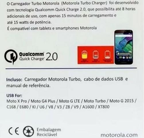 Carregador Motorola Turbo 3.0 - Foto 3