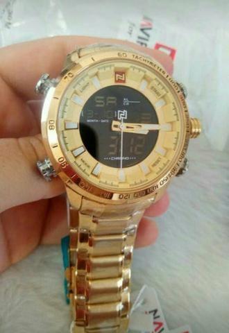 Relógio naviforce luxo inox original novo dourado - Foto 2