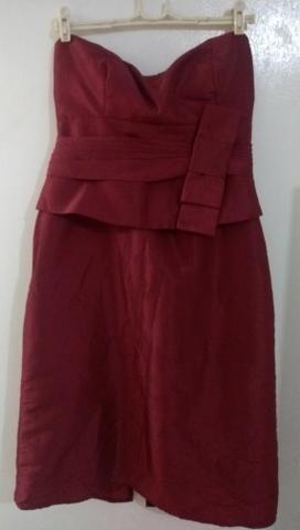 Vestido acetinado Marsala de festa Curto Tam 40 - Foto 3