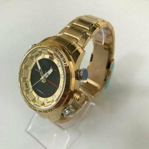 Relógio naviforce luxo inox original novo dourado - Foto 6