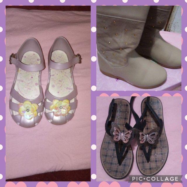 Lote de menina roupas e calçados