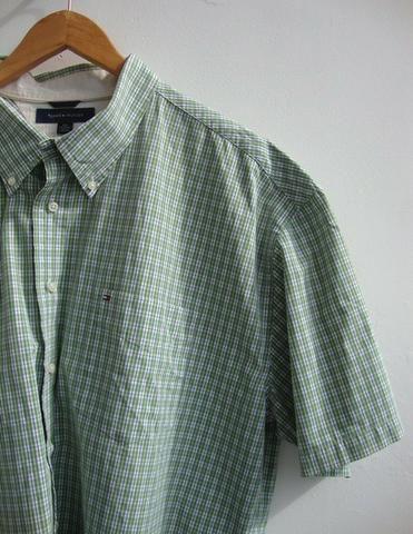 88ddf37558b8 Camisa Tommy Hilfiger manga curta algodão GGG xadrezinha