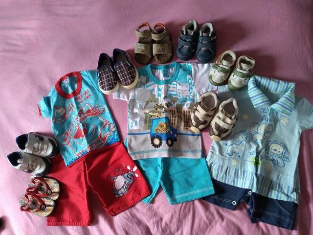 Lote de roupas e calçados de menino