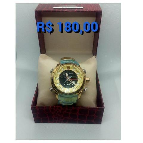 Relógio naviforce luxo inox original novo dourado