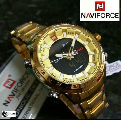 Relógio naviforce luxo inox original novo dourado - Foto 5