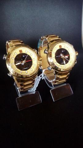 Relógio naviforce luxo inox original novo dourado - Foto 4