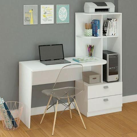 Mesa Elisa para escritório/computador modelo com estantes e gavetas - NOVO