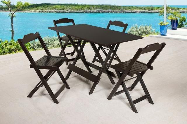 Mesa e cadeira dobrável 68x68 e 1,20x68 e bistrô cor tabaco - Foto 2