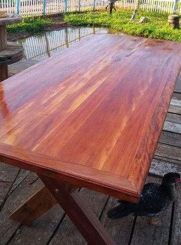 Mesa mais bancos madeira demolição peroba rosa a pronta entrega