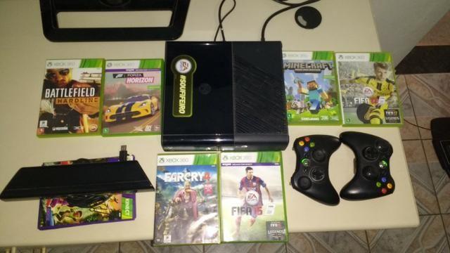 Console Xbox 360 Travado 250gb Com Kinect + Jogos - Videogames ... on