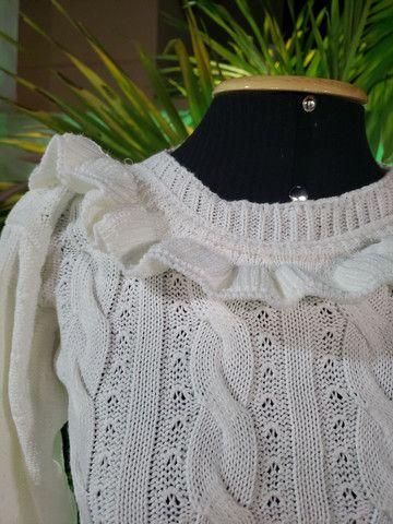 Casaco cropped tricot trançado - Foto 2