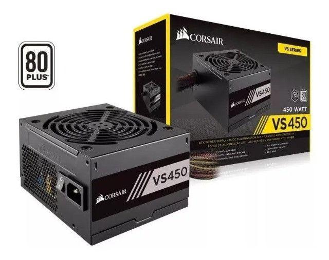 Fonte Corsair 450w Vs450 80 Plus Nova Lacrada Garantia Instalamos - Loja Natan Abreu
