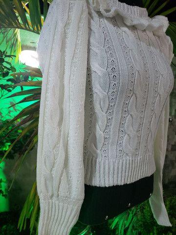 Casaco cropped tricot trançado - Foto 3