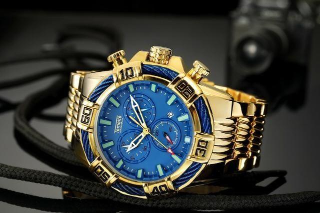 e973fe2da76 Relógio Temeite Masculino Dourado Luxo Quartzo Original