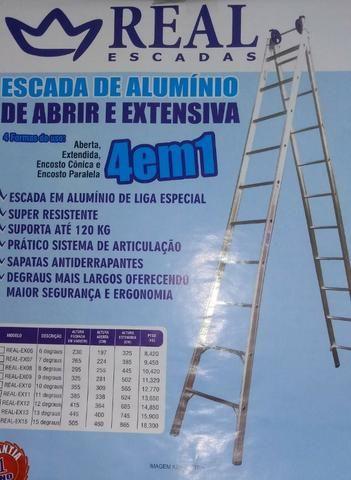 Escada alumínio Ext 15 degraus 8,65 mts marca Real