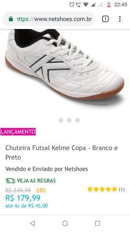 71dca48928 Chuteira Futsal Kelme Copa - Branco e Preto - Roupas e calçados ...