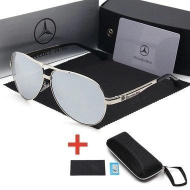 2c472ed64b07a Óculos De Sol Mercedes-Benz Metal Polarizado Uv400 Luxo - Marrom ou Prateado