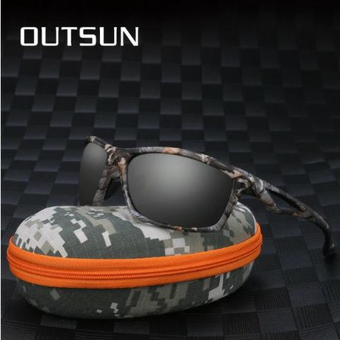 a139b68da6549 Óculos de Sol Polarizado Camuflado Militar Pesca Ciclismo UV400 + Hard Case  + Soft Bag