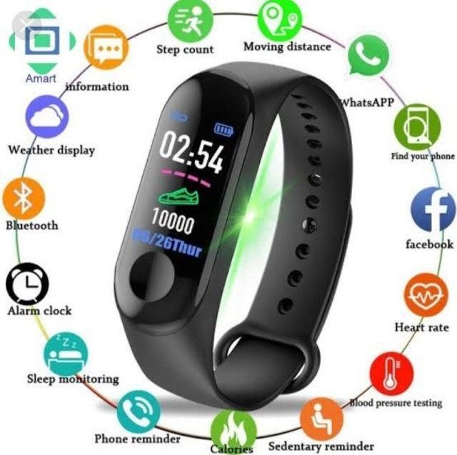 Smartwatch M3 pulseira inteligente batimentos cardíacos pressão arterial conta passos - Foto 2
