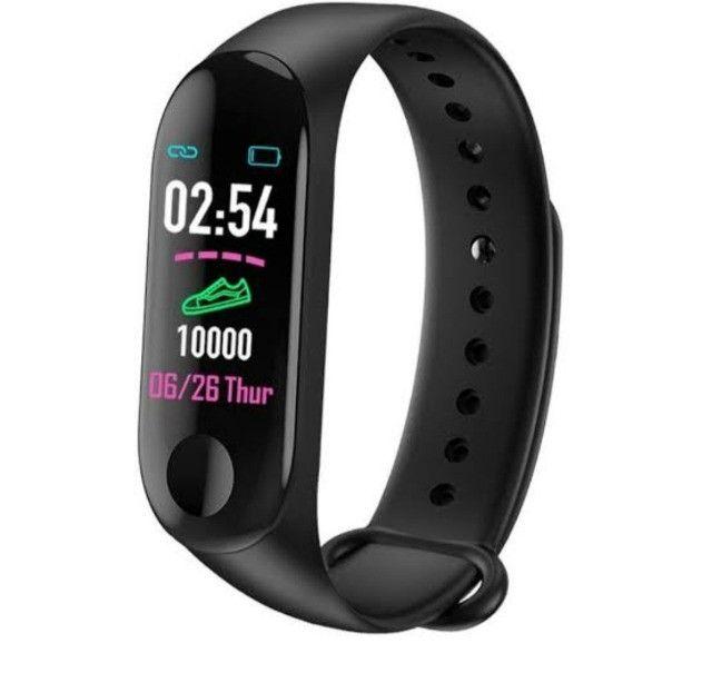 Smartwatch M3 pulseira inteligente batimentos cardíacos pressão arterial conta passos - Foto 4