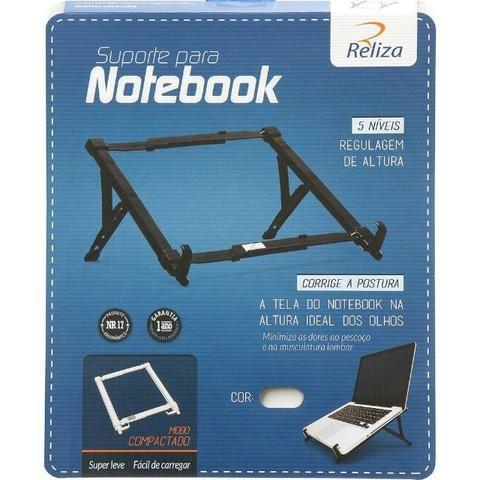 Suporte Para Notebook Regulável Preto Abs Reliza