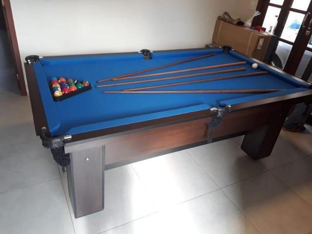 Mesa de Bilhar Tabaco Tx Tecido Azul - Direto da Fábrica