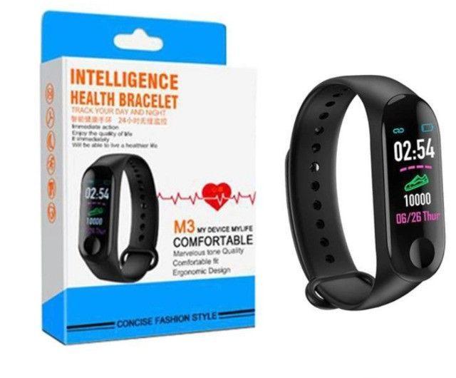 Smartwatch M3 pulseira inteligente batimentos cardíacos pressão arterial conta passos