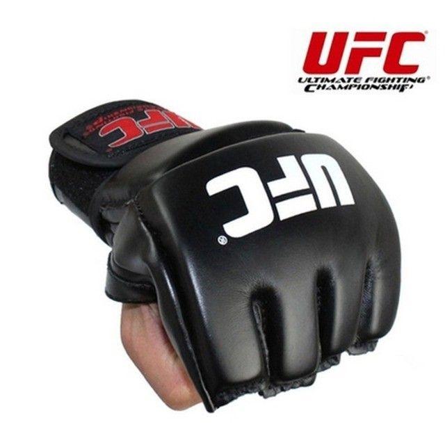 Par de luva couro preto mma UFC vale tudo Boxe Muay Thai Artes Marciais -Nova lacrada - Foto 2