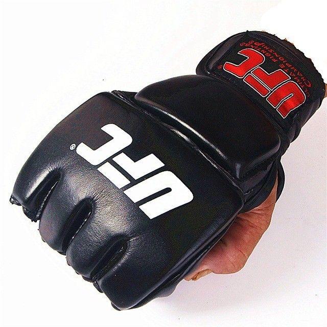 Par de luva couro preto mma UFC vale tudo Boxe Muay Thai Artes Marciais -Nova lacrada - Foto 3