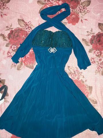 Vestido social azul royal